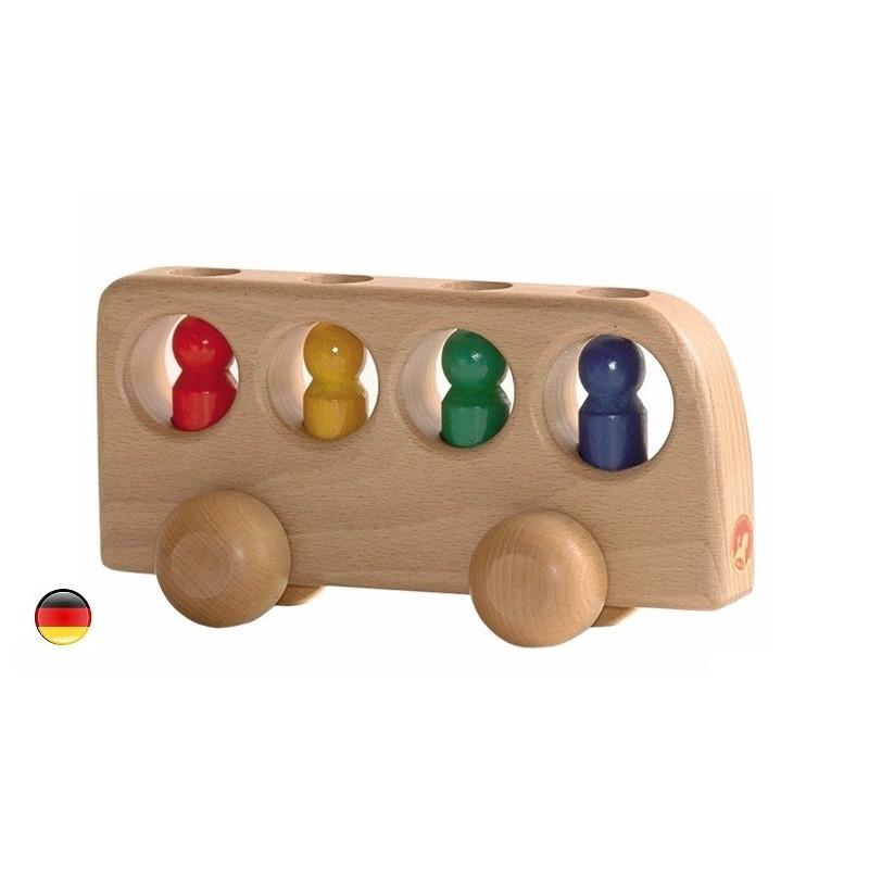 Bus et 4 passagers, jouet en bois ostheimer