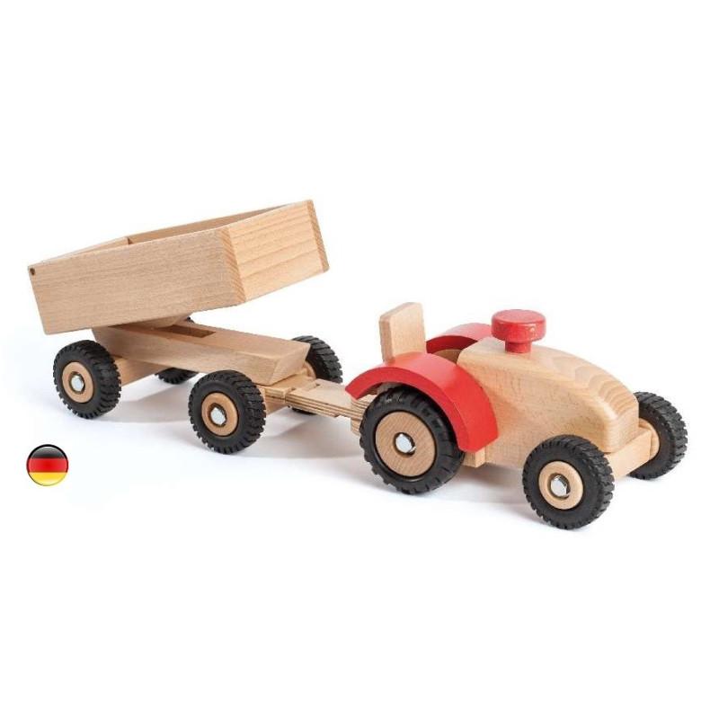Grand tracteur et remorque, jouet en bois Ostheimer konrad keller