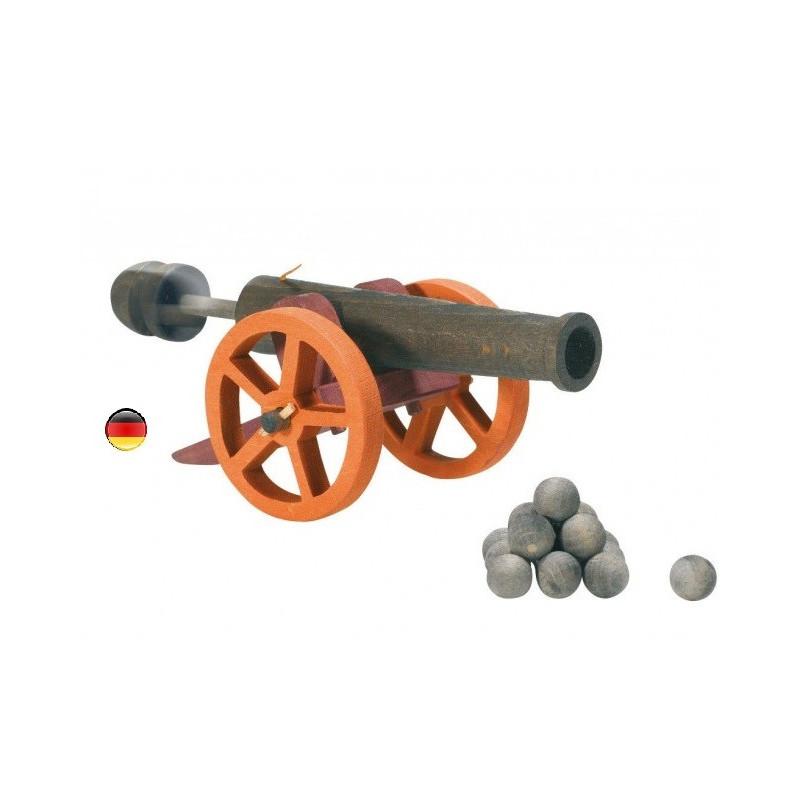Canon à piston et boulets pour le chateau fort, jouet en bois ostheimer