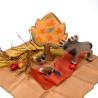 Soie, 3 carrés assortis, table de saison automne  teinture végétale jaune, orange brun