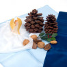 Soie, 3 carrés assortis, table de saison hiver teinture végétale blanc bleu