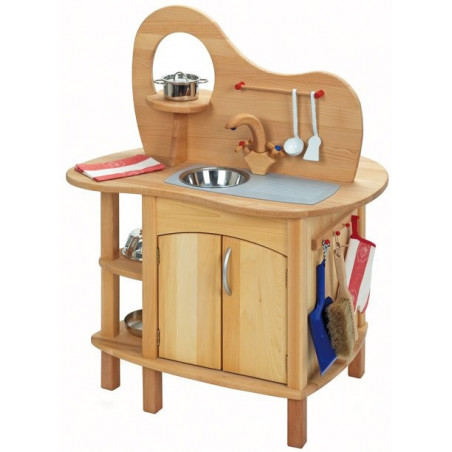 Cuisine enfant avec four et evier, cuisinière  jouet en bois massif gluckskafer