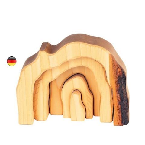 Grotte gigogne, étable en bois avec écorce, jouet de Gluckskafer