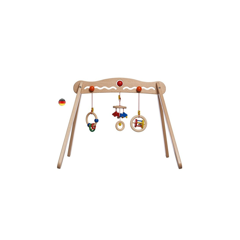 Portique d'éveil, hochets amovibles en bois babytrainer de walter nic