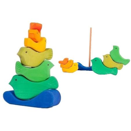 Tour d'oiseaux à empiler, jouet d'éveil en bois gluckskafer nic