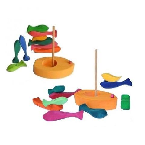 Tour poissons et bateau à empiler, jouet eveil en bois gluckskafer nic
