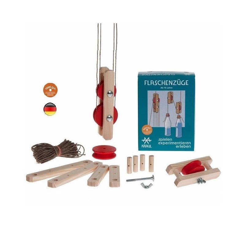 Poulie, palan et grue en bois, kit experiences sciences et mécanique steiner waldorf de Kraul
