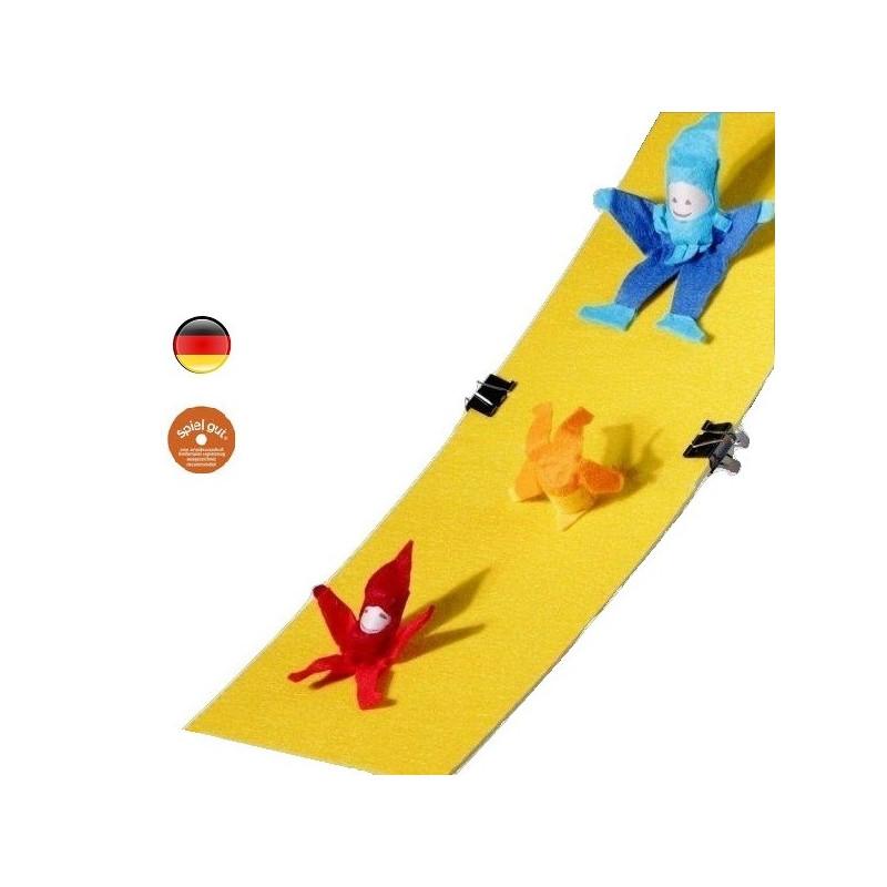 Lutin culbutin et son toboggan, jouettraditionnel naturel, pour petite experience de physique, Kraul