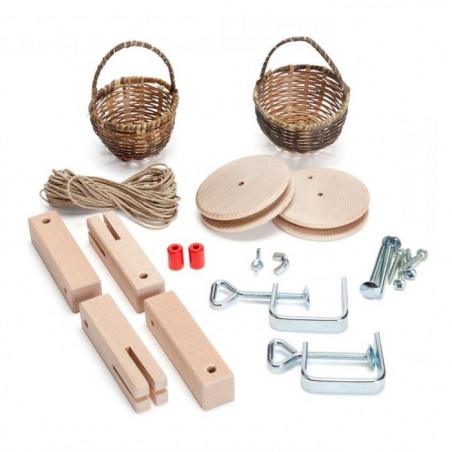 Télépherique 2 corbeilles, kit creatif pour funiculaire en bois, jouet steiner waldorf de kraul