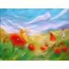 Carte abeille et coquelicots, tableau laine feutrée de célia Portail Rêves en laine
