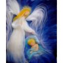 Ange gardien, carte tableau laine feutrée de célia Portail, Rêves en laine