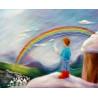 Arc en ciel de Loën, carte tableau laine feutrée de célia Portail, Rêves en laine