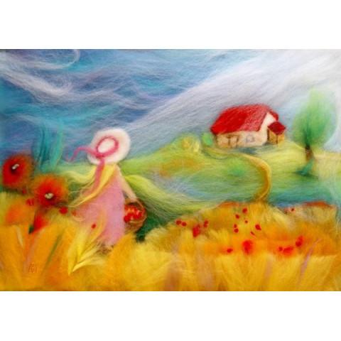 Carte postale blés d'été, , tableau laine feutrée de célia Portail Rêves en laine