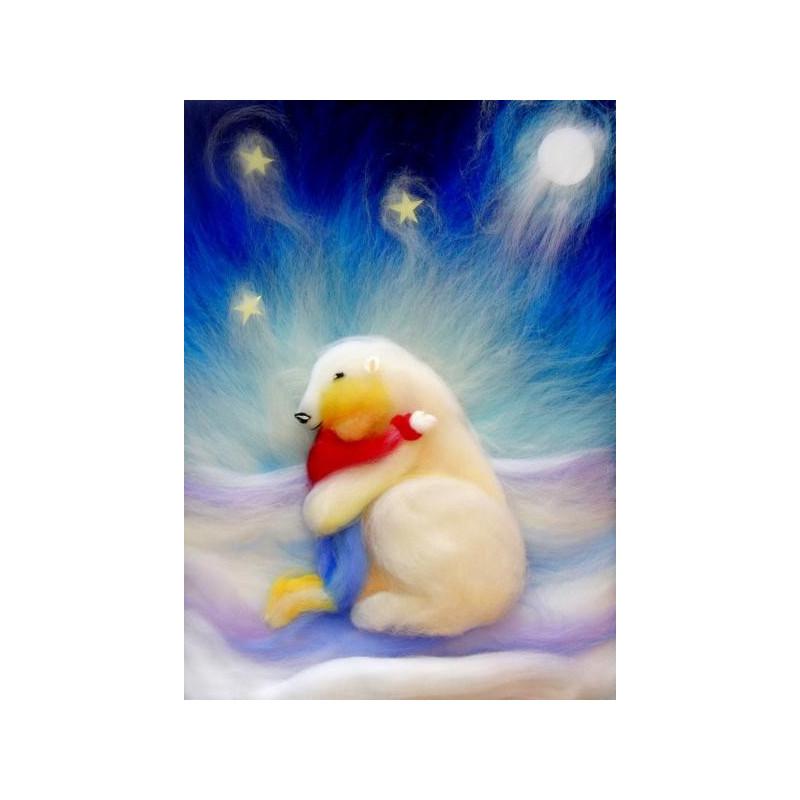 Carte Calin d'ours, carte tableau laine feutrée de célia Portail, Rêves en laine