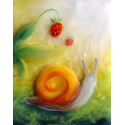 Carte postale escargot et fraise, tableau laine feutrée de célia Portail, Rêves en laine