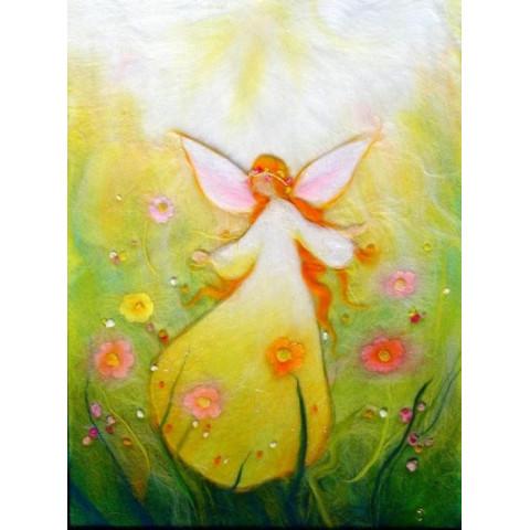 Carte postale fée du printemps, tableau laine feutrée de célia Portail, Rêves en laine
