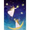 Carte postale fées des étoiles, tableau laine feutrée de célia Portail, Rêves en laine