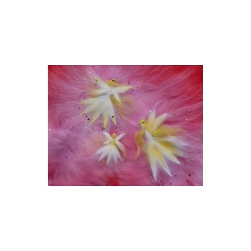 Carte postale  3 fées roses, tableau laine feutrée de célia Portail, Rêves en laine