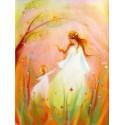 Carte postalemère et fille au printemps, tableau laine feutrée de célia Portail, Rêves en laine