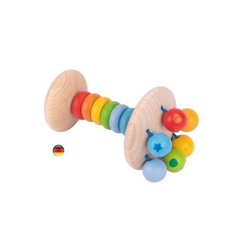Hochet arc en ciel, baton à secouer en bois soft colors, jouet ecologique et éthique Heimess strasbourg