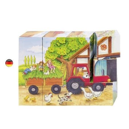 Puzzle saisons à la ferme, cubes en bois