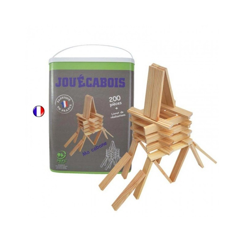 jouecabois 200 planchettes en bois jeu de construction type kapla. Black Bedroom Furniture Sets. Home Design Ideas