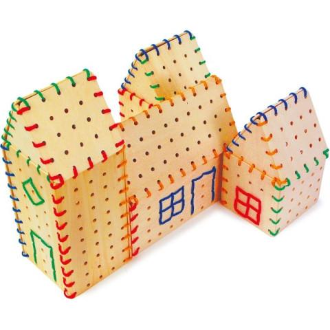 Maisons, village à lacer en bois,  jeu éléments de construction  avec des fils de legler