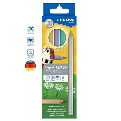 Crayons de couleur métallisés en bois, pointe triangle superberby de Lyra