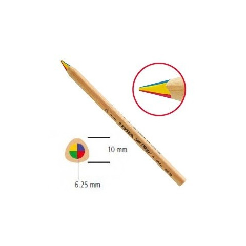 Crayon 4 couleurs en bois, pointe triangle Super Ferby de Lyra