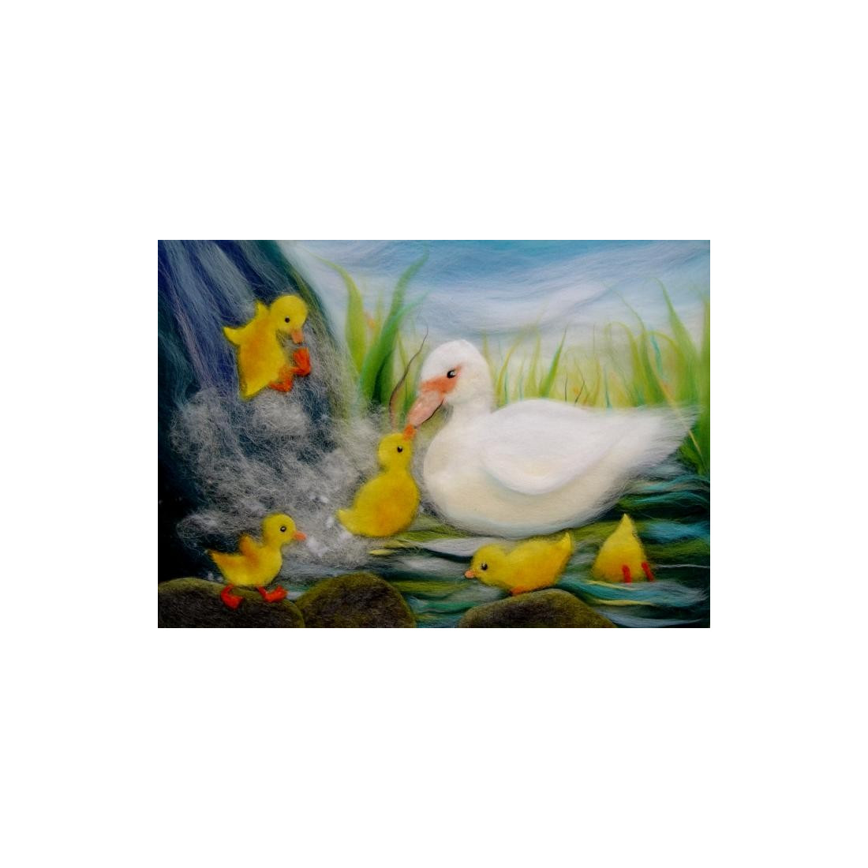 Carte cane, canard et caneton, carte postale tableau en laine steiner waldorf de celia portail, reves en laine