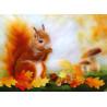 Carte écureuil en automne, carte postale tableau en laine steiner waldorf de celia portail, reves en laine