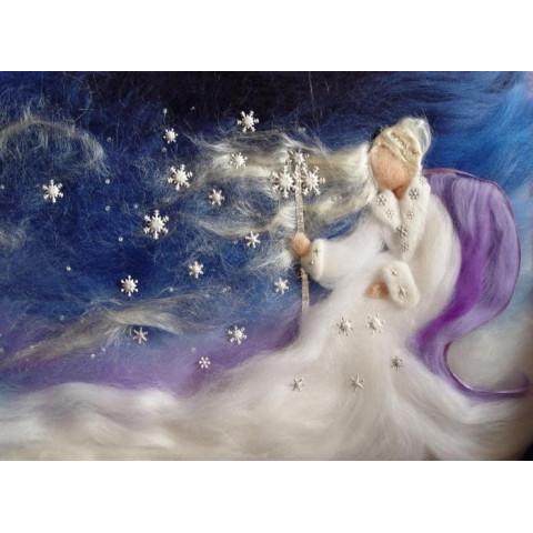 Carte Dame Holle, fée de l'hiver et neige, carte postale tableau en laine steiner waldorf de celia portail, reves en laine