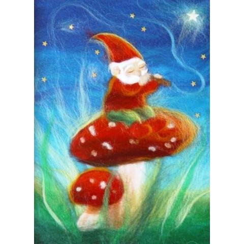 Carte postale lutin musicien et champignon, tableau laine feutrée de célia Portail, Rêves en laine