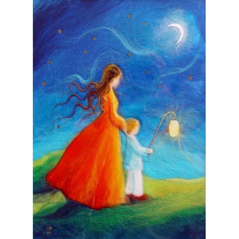 Carte postale Guide ma lanterne, tableau laine feutrée de célia Portail, Rêves en laine