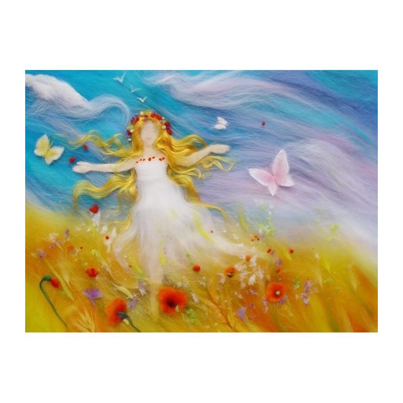 Carte Fée de l'été, carte postale tableau en laine steiner waldorf de celia portail, reves en laine