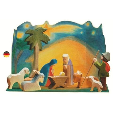 Crèche complète de Noel, et décor diorama, figurines en bois 60205 Ostheimer