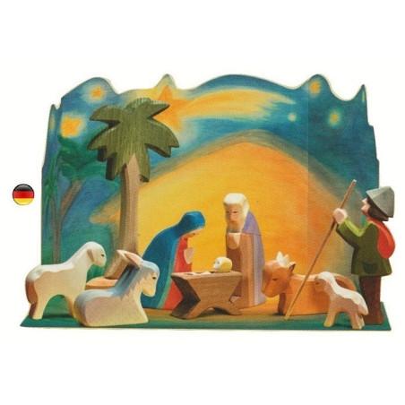 Crèche, figurine et animaux, diorama Ostheimer