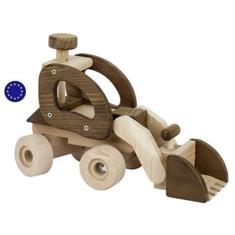 Grand bulldozer chargeur, engin de chanier, jouet  en bois Goki nature à strasbourg