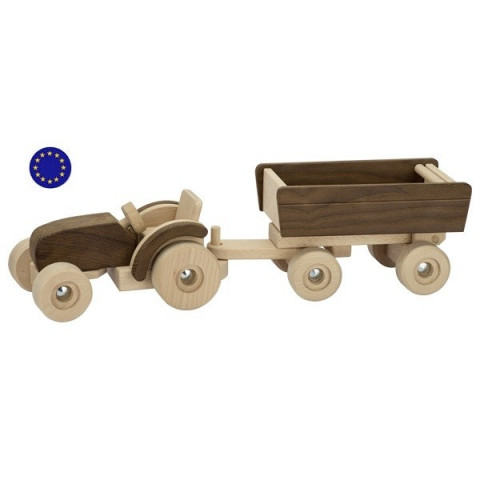 Grand tracteur et remorque, jouet en bois de Goki nature à strasbourg