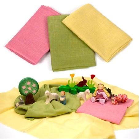 Tissus de laine bio, teinture végétale,3 assortis pour jeu, printemps table de saison waldorf steiner, de filges