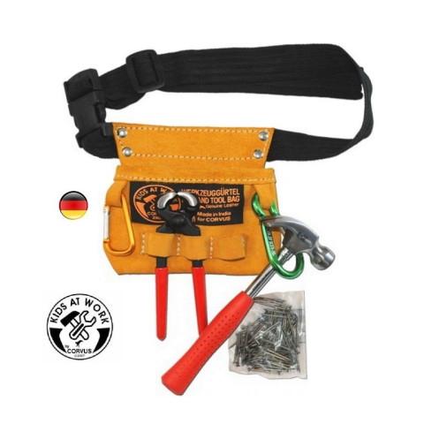 Set de vrais outils pour enfant et ceinture en cuir, jouet steiner waldorf et montessori de corvus à strasbourg