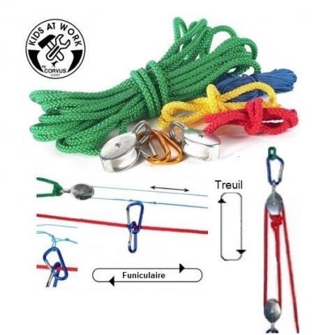 Kit poulie treuil et telepherique, pour inventer et experimenter, un jouet montessori et steiner waldorf de corvus