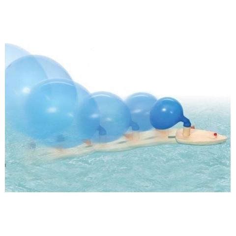 Bateau à ballon, propulsion à air, jouet en bois pour le bain et la mer, steiner waldof et montessori de nic Goki