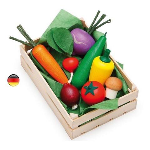 Grande cagette de légumes en bois pour marchande et dinette, jouets en bois ethique steiner waldorf de Erzi strasbourg