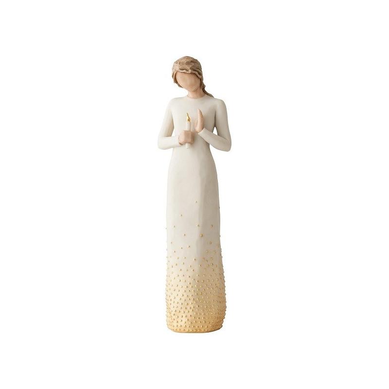 Statuette Vigil, luminary of love, veilleur à la lumière, message d'espoir et de guérison de Willow Tree à strasbourg