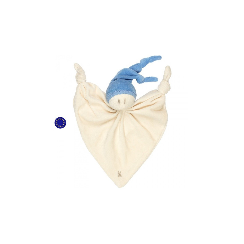 Doudou grand lutin zmooz nicky bleu, peluche naturelle coton bio Keptin Jr