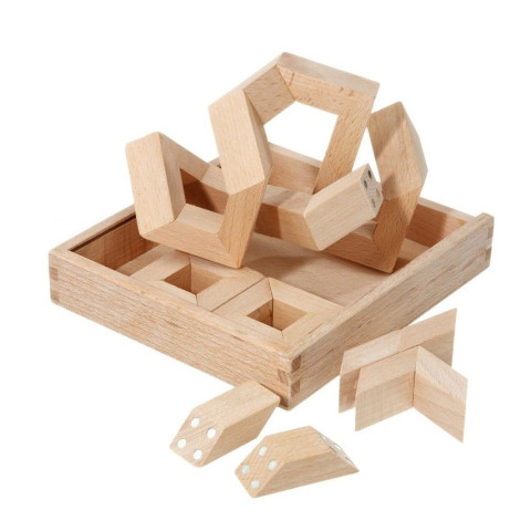 MathMaker, puzzle magnetique, jeu de construction 3D geométrique en bois Math maker