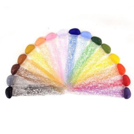 Crayon Rocks, 16 cailloux colorés de cire vegetale pour coloriage naturel et vegetal