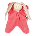 Doudou Nicky rose corail, lapin pour bébé en coton bio Keptin Jr