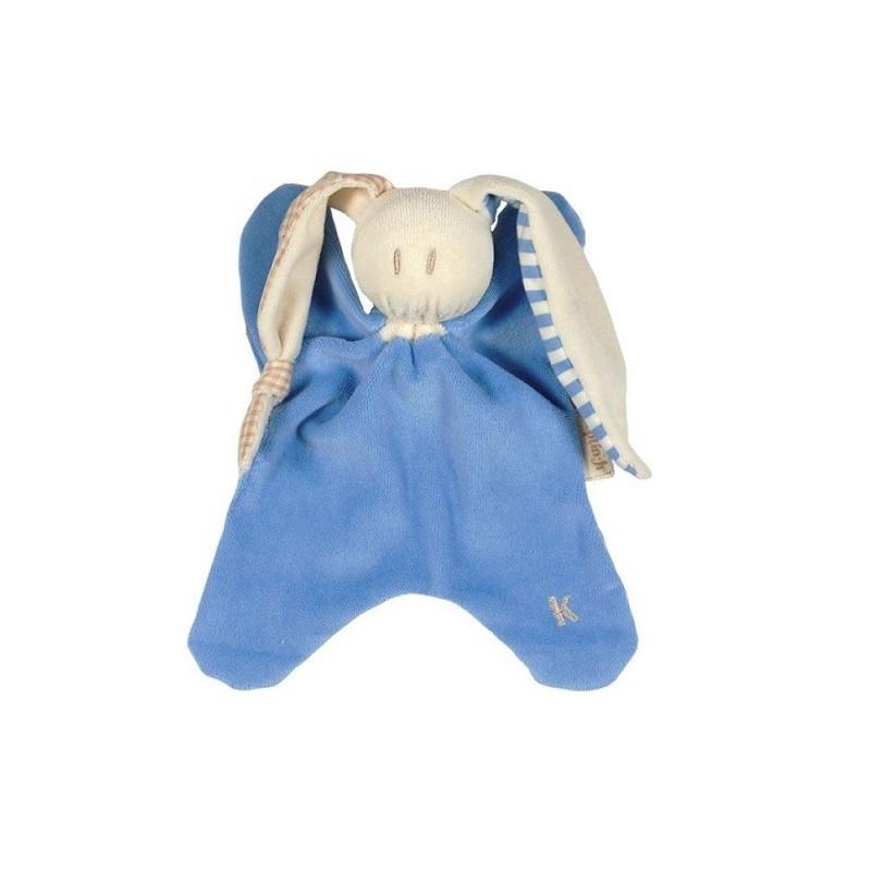 Doudou Nicky zmooz bleu, lapin pour bébé en coton bio Keptin Jr